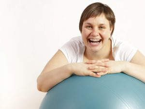Happy on exercise ball