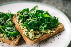 Avocado and spinach on toast